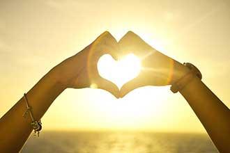 Herz im Sonnenuntergang